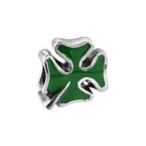 Bacio Italian Enamel Bead Expressions Enamel Four Leaf Green Clover
