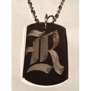 Font Initial   Military Dog Tag, Luggage Tag Key Chain Metal Chain