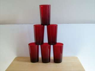 Anchor Hocking Royal Ruby Glass 10 ounce Tumblers.