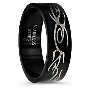316L Stainless Steel Black Mens Ring Tribal Inspired Design High