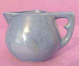Vintage BYRD American POTTERY Tyler Texas Miniature Blue PITCHER