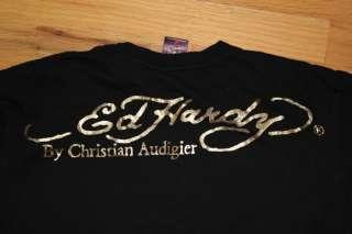 Ed Hardy Mens Medium T Shirt Black Christian Audigier