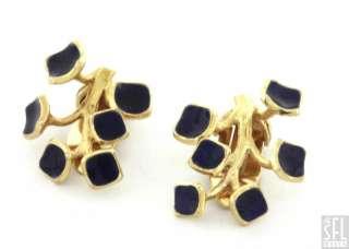 VINTAGE 14K GOLD BLUE ENAMEL TREE BRANCH/FLOWER CLIP ON EARRINGS