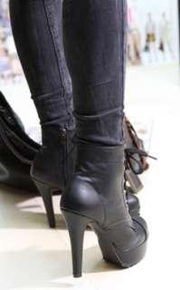 Ladies Stud Belt High Heels Platform Lace up Black Fashion ankle Boots