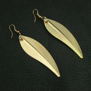 Hot 18K GP Fashion jewelry charm gold long leaf dangle new earring