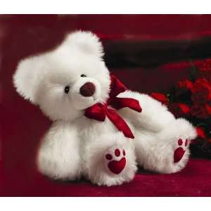 White Teddy Bear w/ Red Heart Paw Prints 15in (medium