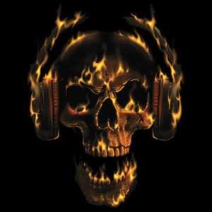 HOT HEAD FLAMING SKULL WITH HEADPHONES T SHIRT S 3X