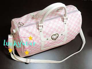 Kitty pink leather like travel tote bag shoulder bag purse