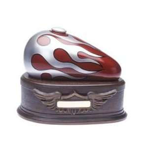 Red Flames Born To Ride Motorcycle Cremation Urn   Individual   Free