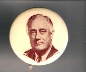 FDR Franklin D. Roosevelt pinback button Rare PORTRAIT + Paper backer
