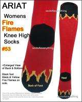 New ARIAT Womens Knee High Boot Socks Red Black Fire Flame Light Thin