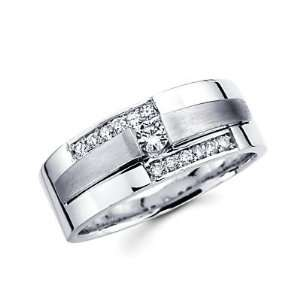 Size  9   14k White Gold Ladies Womens Diamond Solitaire Wedding Ring
