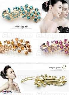 Fashion Womens Peacock Crystal Rhinestones Hairpin Hair Clip