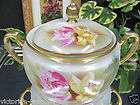GERMAN HAND PAINTED CRACKER JAR floral BISCUIT JAR Bav
