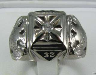 SCOTTISH RITE 32nd Degree   10K White GOLD Diamond RING