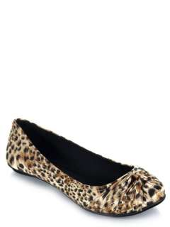 NEW QUPID Women Animal Leopard Print Slip On Ballet Flat black brown