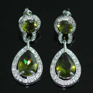 GREEN CRYSTAL SILVER PLATED BRIDAL PROM BEAUTY PAGEANT EARRINGS