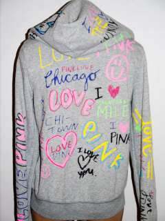 NWT Victorias Secret PINK Graffiti PINK LOVE CHICAGO Zip Hoodie S