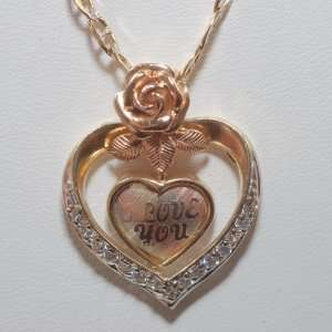 14k Yellow Gold Heart Multi tone Pendant &Gold Chain Set Jewelry