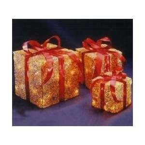 Set of 3 Sparkling Gold Sisal Gift Boxes Lighted Christmas
