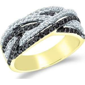 Black Diamond and White Cross Over Round Cut Womens Diamond Wedding