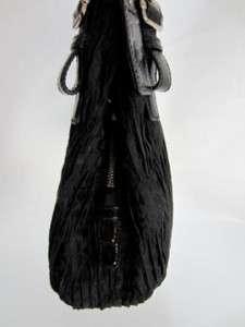 MADISON GATHERED SIGNATURE MAGGIE BLACK HANDBAG BAG PURSE $358