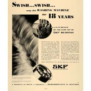 Ad SKF Ball Roller Bearings Steel Washing Machine   Original Print Ad