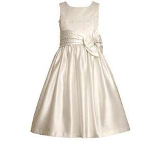 Bonnie Jean Girls White Satin First Communion Easter Wedding Dress w