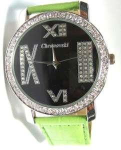 Green Strap Roman style Ladies Mens Fashion Watch FEX12