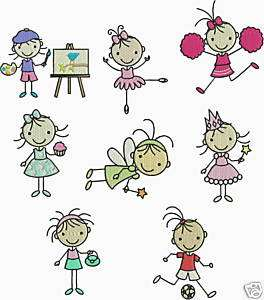 GIRL STICK FIGURES MACHINE EMBROIDERY DESIGN CD BERNINA