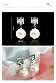 18K White Gold Plated Pearl Earring Use Swarovski Crystal EP0020 Free