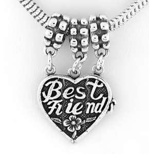 SILVER BEST FRIEND HEART SPLITS 3 WAYS DANGLE BEAD