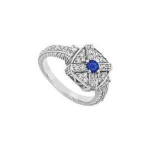 Blue Sapphire and Diamond Ring  14K White Gold   0.75 CT