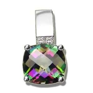 .035 ct Checkerboard Mystic Green Topaz White Gold Pendant Jewelry