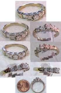 14K White Gold Diamond Engagement Ring 3 Princess Cuts w/ Baguettes