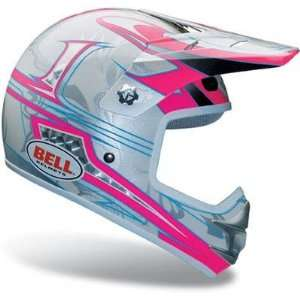 Youth Off Road/Motocross Bike Helmet   Pulse Pink/Silver Sports