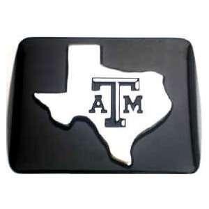 Texas A&M Texas Shape Premium Black Metal Hitch Cover