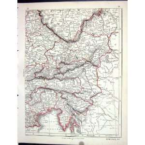 Antique Map 1853 South East Germany Austria Bohemia Home & Kitchen