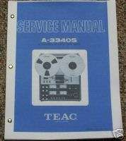 Teac A 3340S Reel to Reel Service Manual FREE SHIP!