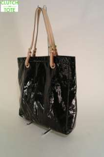 Michael Kors Jet Set Item Black Patent Leather Tote Handbag