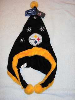 STEELERS Logo NFL Holiday Christmas XMAS Black Gold Snowflake Hat NEW