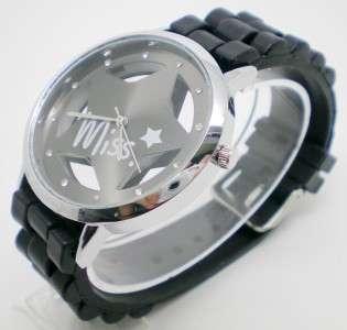 Black Star Design Quartz Men/Womens Fashion Sport Wrist Watch with