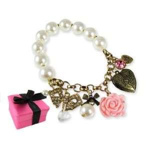 Betsey Johnson BOXED Rose Locket Charm Bracelet Jewelry