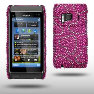 LOVE HEARTS BLING CASE FOR NOKIA N8   PINK/SILVER