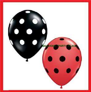 10 RED BLACK POLKA DOT BALLOONS LADYBUG PARTY