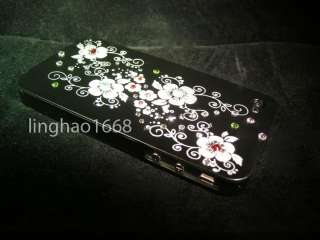 Deluxe Super Bling Swarovski Blossom Crystal Black Hard Case For