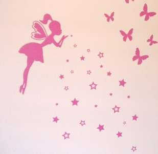 PINK Fairy Blowing Stars Wall Stickers + Butterflies