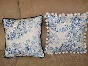 Blue White French Country Children Toile Fabric Pillow