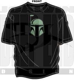 star wars BOBA FETT mandalorian helmet t shirt SCREEN PRINTED all