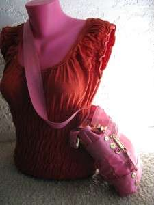 Authentic JUICY COUTURE Hot Pink Nylon Belted & Goldtone Studded